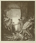 "Sir Frank Brangwyn, lithograph, ""The Hot Oven"""