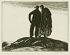 "Gifford Beal, etching, ""Fishermen at the Headlands"""