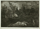 Jerome Myers, etching, Figures in a Park at Night