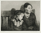 "Raphael Soyer, drypoint etching, ""Waiting"""