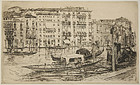 "Frank Duveneck, etching, ""Grande Canal, Venezia """