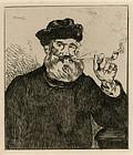 "Edouard Manet, etching, ""Le Fumeur II"""