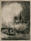 """Louis Orr, """"Notre-Dame Enveloppé dans le Brouillard"""""""