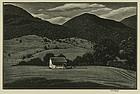 "Asa Cheffetz, wood engraving, ""Rural Schoolhouse- VT"""