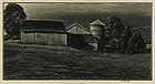 "Asa Cheffetz, wood engraving,  ""Farm Buildings"""