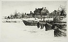 "Stephen Parrish, etching, ""Trenton--Winter, 1883"""