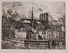 "Albert Decaris, engraving, ""Notre Dame Cafe Nord"""