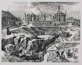 "Albert Decaris, engraving, ""Paris Construction"""