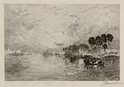 """Thomas Moran, etching, """"Morning on the St. John's"""""""