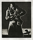 """William J Heaslip, etching, """"Old Timer of the Airmail"""""""