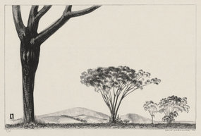"Louis Lozowick, lithograph, ""Trees and Mountains,"" 1930"