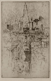 """Joseph Pennell, Etching, """"Up to the Woolworth,"""" 1915"""