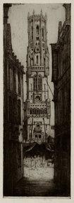 "David Y. Cameron, etching, ""The Belfrey of Bruges,"""