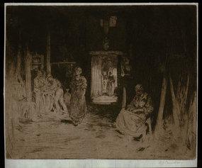 """David Y. Cameron, etching, """"The Wine Farm,"""" 1896"""