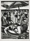 "Julius Tanzer, lithograph, ""Orchard Beach,"" c. 1940"