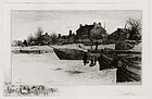 "Stephen Parrish, Etching, ""Trenton- Winter,"" 1883"
