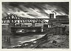 "Julius Tanzer, lithograph, ""Harlem River Bridge"""