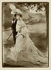 "Edgar Chahine, etching, ""En Promenade"" 1904"