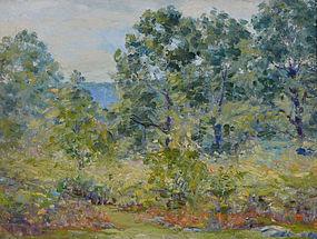 """Paul Saling, oil on board, """"Meadow in Bloom"""" c. 1930"""
