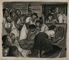 "Julius Tanzer, drawing, ""Harlem Revival"" c. 1940"