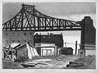 "Julius Tanzer, litho, ""Bridge in Astoria, Long Island"""