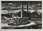 "Julius Tanzer, lithograph, ""Ward's Island,"" c. 1940"