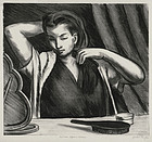 "Julius Tanzer, Lithograph, ""Woman Before a Mirror"""