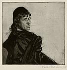 """Ferdinand Schmutzer, etching, """"Josef Kainz as Hamlet"""""""