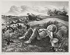 """John S. deMartelly, lithograph, """"Chore Boy"""""""