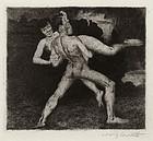 """Lovis Corinth, Etching, """"Entfuhrung,"""" 1894"""