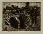 William Lee Hankey, Etching, The Bridge at Corfe Castle