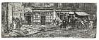 """Clifford Addams, etching, """"Soho Alley,"""" 1912"""