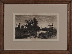 """Stephen Parrish, etching, """"Evening on the Schroon 1880"""""""