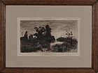 "Stephen Parrish, etching, ""Evening on the Schroon 1880"""