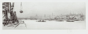 "William Walcot, etching, ""The Thames,"" 1922"