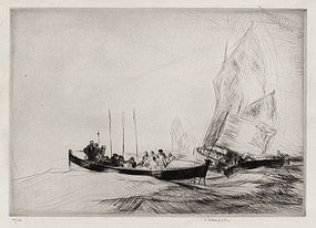 """Edmund Blampied, Etching, """"Blessing the Waters,"""" 1926"""