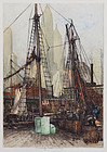 "Luigi Kasimir, Color Etching ""New York, Fulton Market"""
