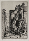 "Auguste Louis Brouet, Etching, ""Vegetable Market"""