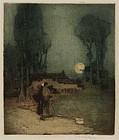 "William Lee Hankey, Etching, ""The Summer Moon"" c. 1920"