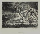 """John Sloan, Etching, """"Nude Reading,"""" 1928"""