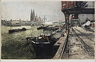 "Luigi Kasimir, Color Etching, ""Cologne, New Bridge"""