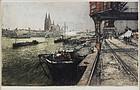 """Luigi Kasimir, Color Etching, """"Cologne, New Bridge"""""""