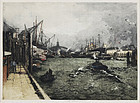 "Luigi Kasimir, Color Etching, ""Hamburg, Ubersee Bridge"""