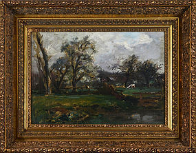 "John Appleton Brown, oil on canvas, ""The Farmyard"""
