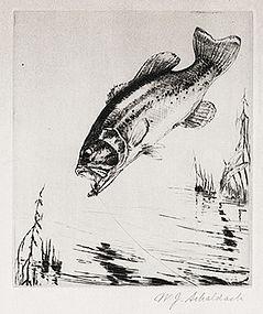 """William Schaldach, Etching, """"Fighting Mad- Black Bass"""""""