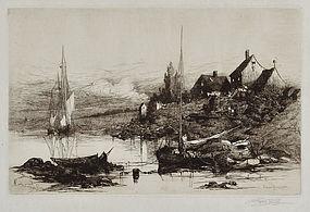 "Stephen Parrish, Etching ""Fishermen's Houses, Cape Ann"""