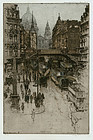 "Luigi Kasimir, Color Etching, ""Fleet Street, London"""