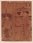 Torii Kiyonaga, Woodblock, Two Women with Young Servant
