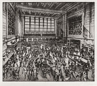 "Andrew Karoly, Etching, ""New York Stock Exchange"""