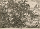 "Jacob van Ruisdael, Etching, ""Cottage at Top of a Hill"""